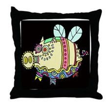 Pig Aloft Throw Pillow