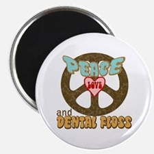 """Peace Love and Dental Floss 2.25"""" Magnet (10 pack)"""