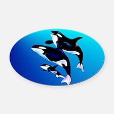 Wall Peel Orca Family Oval Car Magnet