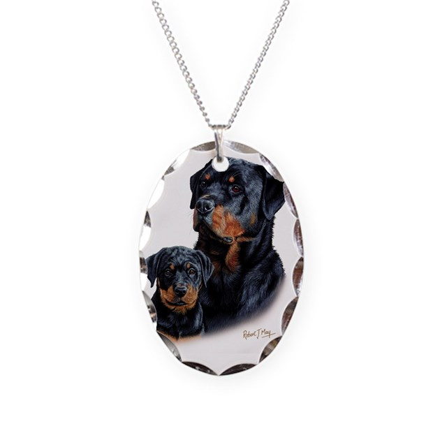 rottweiler pup necklace oval charm by admin cp36653328