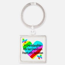 #1 GRANDDAUGHTER Square Keychain