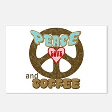 Peace Love and Coffee Postcards (Package of 8)