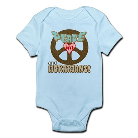 Peace Love and Librarians Infant Bodysuit