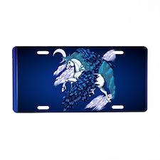Wall Peel Winged Unicorn Aluminum License Plate
