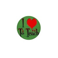 Love To Teach background Mini Button