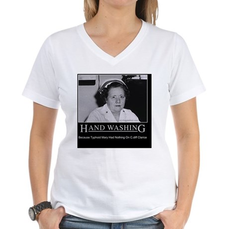 Hand washing humor infection 02 lg 2 women 39 s v neck t for How to hand wash white shirt