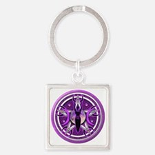 Pentacle of the Purple Goddess Square Keychain
