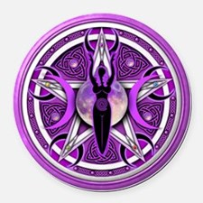 Pentacle of the Purple Goddess Round Car Magnet