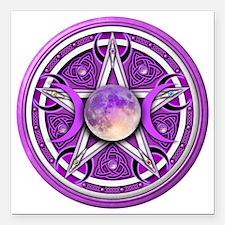 """Purple Triple Goddess Pe Square Car Magnet 3"""" x 3"""""""