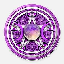 Purple Triple Goddess Pentacle Round Car Magnet