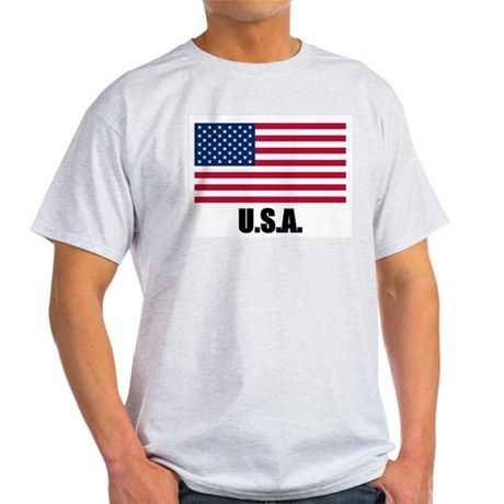 United States Flag Ash Grey T-Shirt