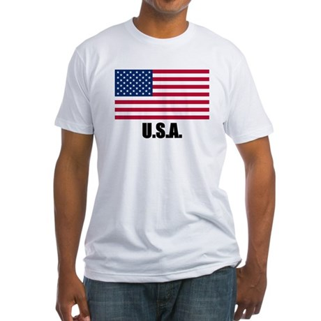 United States Flag Fitted T-Shirt