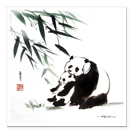 "Mom and Child_Panda Square Car Magnet 3"" x 3"""