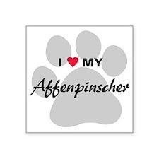 "I Love My Affenpinscher Square Sticker 3"" x 3"""