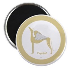 CRYSTAL ANGEL GREY gold rim round ornament  Magnet