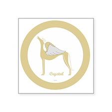 "CRYSTAL ANGEL GREY gold rim Square Sticker 3"" x 3"""