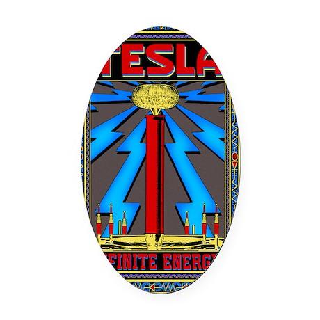 TESLA_COIL-5x8_journal Oval Car Magnet