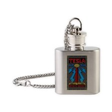 TESLA_COIL-5x3rect_sticker Flask Necklace