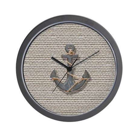 Nautical Anchor Burlap Beach Decor Wall Clock By Listing Store