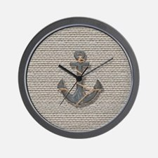 nautical anchor burlap beach decor Wall Clock