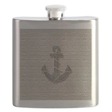 nautical anchor burlap beach decor Flask