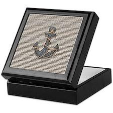 nautical anchor burlap beach decor Keepsake Box
