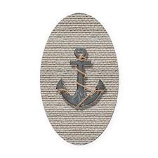 nautical anchor burlap beach decor Oval Car Magnet