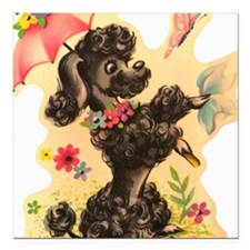 """Vintage Poodle Illustrat Square Car Magnet 3"""" x 3"""""""