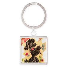 Vintage Poodle Illustration Square Keychain