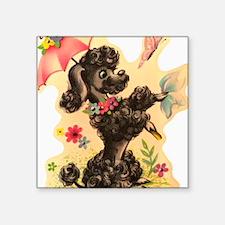 """Vintage Poodle Illustration Square Sticker 3"""" x 3"""""""