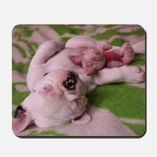 frenchie pink note Mousepad
