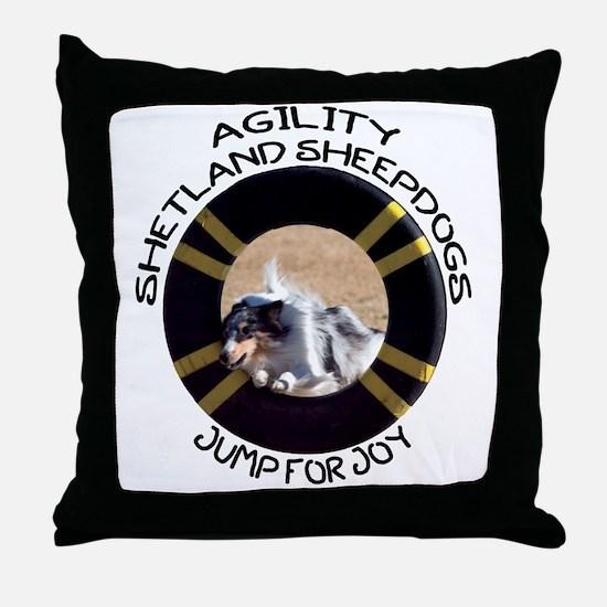 Agility Shetland Sheepdogs Jump Throw Pillow