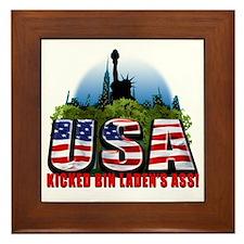 USA kicked Bin Ladens Ass copy Framed Tile