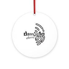 Danny Echo logo  wordsand lines BW  Round Ornament