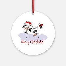 Moo-y Christmas Ornament (Round)