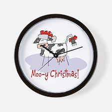 Moo-y Christmas Wall Clock