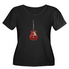 Hollow Body Electric Guitar Plus Size T-Shirt