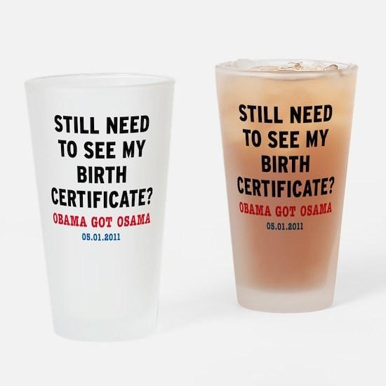 BirthCertificate_small Drinking Glass