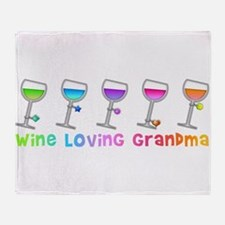 Wine loving grandma Throw Blanket