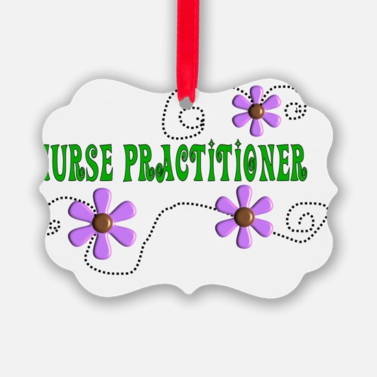 Nurse Practitoner Green Purple Ornament