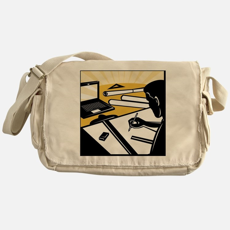 architectural draftsman at work draf Messenger Bag