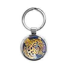 leopard BIG Round Keychain