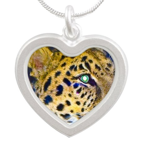 leopard BIG Silver Heart Necklace