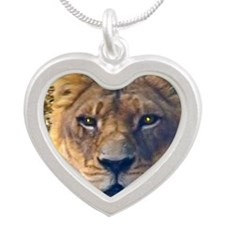 female lion big Silver Heart Necklace