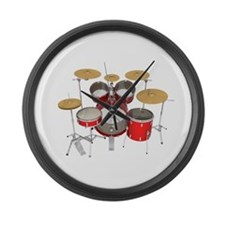 Drum Kit: Red Finish Large Wall Clock