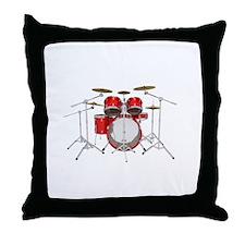 Drum Kit: Red Finish Throw Pillow