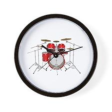 Drum Kit: Red Finish Wall Clock