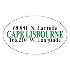 Cape Lisbourne Lat-Long Oval Decal