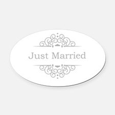 Just Married in silver Oval Car Magnet