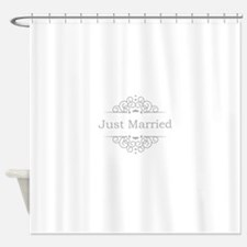 Just Married in silver Shower Curtain